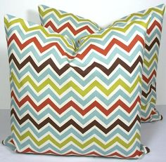 SALE  Decorative Chevron Pillow Cover Zig Zag brown  by WilmaLong