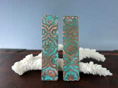 Verdigris Copper Earring Rectangles  2 Inch x by SupplyYourSoul