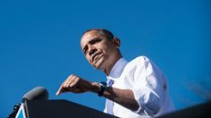 #196 Oct. 19-Is Barack Obama Talking Enough About the Future?; U.S. President Barack Obama speaks during a rally at Veterans Memorial Park, Oct. 18, 2012, in Manchester, N.H. (Brendan SmialowskiAFP/Getty Images)