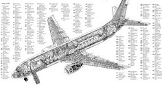 Boeing 737-800 annotated cutaway drawing. (not animated)