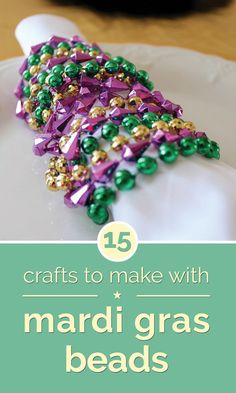 15 Crafts to Make with Mardi Gras Beads - thegoodstuff - 15 Crafts to Make with. - 15 Crafts to Make with Mardi Gras Beads – thegoodstuff – 15 Crafts to Make with Mardi Gras Bea - Mardi Gras Food, Mardi Gras Beads, Mardi Gras Party, Mardi Gras Centerpieces, Mardi Gras Decorations, Holiday Decorations, Seasonal Decor, Holiday Ideas, Mardi Gras Outfits