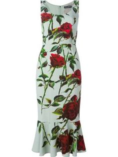 rose print flared hem dress