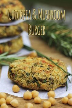 Chickpea and Mushroom Veggie Burgers. Delicious, nutritious meal!