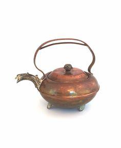Vintage copper teapot  mixed metal by MrsRshop on Etsy