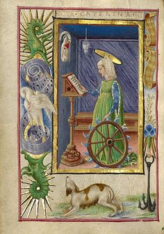 Saint Catherine of Alexandria, 1469, Taddeo Crivelli, from a Book of Hours, Ms. Ludwig, IX 13, fol. 187V. Shown reading and praying while holding her attribute, the spiked wheel. In the border the motifs include an anchor and lilies, emblems of the Orsina d'Este and family, a seahorse, and the religious symbols of the pelican and dog.  (Getty Museum)