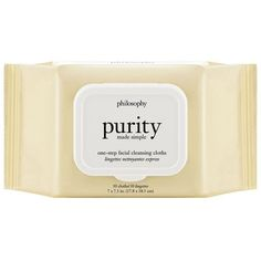 Philosophy Purity Made Simple Cleansing Towelettes (€12) ❤ liked on Polyvore featuring beauty products, skincare, face care, face cleansers, fillers, beauty, fillers - yellow, makeup, no color and philosophy facial cleanser