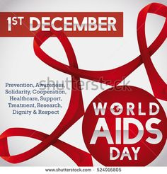 Poster with linked ribbons for World AIDS Day commemorating the worldwide union and struggle against this disease.