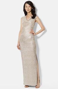 Free shipping and returns on Lauren Ralph Lauren Metallic Knit Gown at Nordstrom.com. Finely textured rivulets deepen the pearled luminosity of this scintillating metallic-knit gown flattered by a cowl neckline, Empire seam and side-slit column skirt.