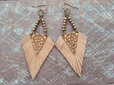 Leather earrings. Native earrings. Tribal earrings. Boho earrings. Bohemian earrings. Bronze earrings. Brown suede earrings. Fringe earrings. Western earrings. Materials: suede leather,bronze jewelry findings. Color: brown,bronze. Length with hooks: 9.5 cm( 3.75) If you have any