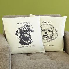 Personalized Dog Sketch Accent Pillow #giftidea