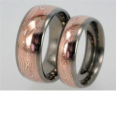 Copper/Silver Mokume Gane Wedding Bands in Titanium Rings