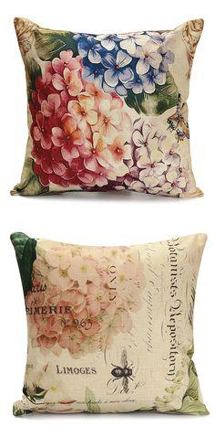 45x45cm Retro Flower Pillow Case Cotton Linen Cushion Cover Home Sofa Decor