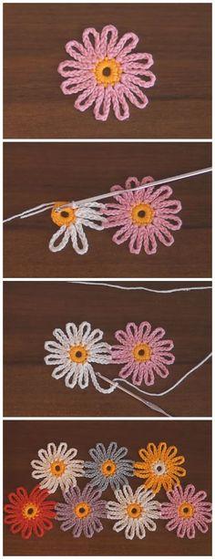 Crochet Flower Tutorial, Crochet Flower Patterns, Crochet Motif, Diy Crochet, Crochet Crafts, Crochet Flowers, Easy Crochet Flower, Crochet Leaves, Crochet Ideas