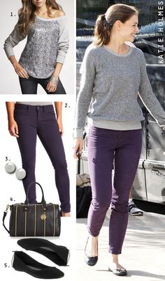 e140e5faa09 Gray and Eggplant...need to wear this combo. Have this in my. Purple Jeans  OutfitPurple Skinny ...