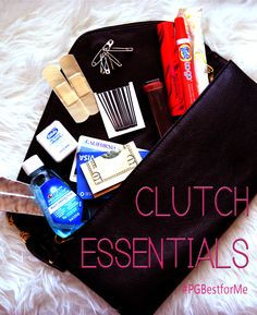 What to fit in your clutch for those little emergencies on a wild night. #PGBestForMe