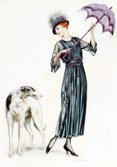 Woman and DogCharles Gates Sheldonvintageartwork1920s