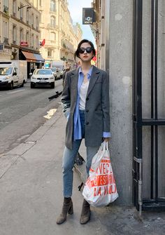 Classic Flannel Long Blazer Jacket - I know you wanna kiss me. Thank you for visiting CHUU. Long Blazer Jacket, Casual Blazer, Blazer Outfits, Blazer Fashion, Grunge Outfits, Casual Outfits, Fashion Outfits, Flannel Jacket, Sleevless Blazer