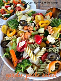 Garden Pasta Salad | Can't Stay Out of the Kitchen. This one has a delicious olive oil vinaigrette.