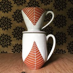 Ceramic Pour Over Set - Single Cup Coffee Maker - Carved Terracotta Modern Geometric by PotterybyOsa on Etsy https://www.etsy.com/listing/291549179/ceramic-pour-over-set-single-cup-coffee