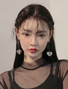 - ̗̀ ριntєrєѕt: @trєαѕσ ☼ korean asian earrings long hair beauty model fashion mesh top shirt wavy bold brows brow