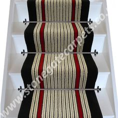 Striped stair runner designed with Brintons Carpet in cream, black and red stripes. Bespoke, British made-to-measure wool rich stair carpet runner. Carpet Runner, Rug Runner, Hall Runner, Carpet Stairs, Bathroom Rugs, Red Stripes, Rugs In Living Room, Dresses For Work, Low Stock
