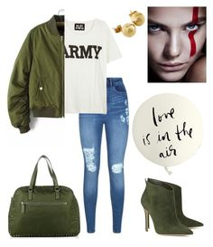 """Army Love."" by schenonek ❤ liked on Polyvore featuring Gianvito Rossi, Lipsy, NLST, Valentino, Kate Spade and NOVICA"