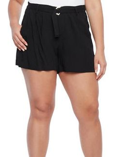 Plus Size Casual Shorts with Removable D Ring Belt and Pockets,BLACK