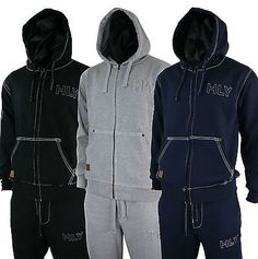 9e9da800689f Sweats and Tracksuits 175778  Mens Complete Stitch Fleece Tracksuit Zipped  Hoodie And Bottoms Grey Blue Black -  BUY IT NOW ONLY   27.99 on eBay!