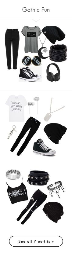 """Gothic Fun"" by ninjareaper ❤ liked on Polyvore featuring Topshop, Beats by Dr. Dre, Converse, Saachi, Jewel Exclusive, Topman, Patagonia, Alexander McQueen, Loren Stewart and men's fashion"