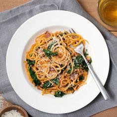"In this healthy carbonara recipe, ""spiralized"" sweet potato noodles take the place of traditional pasta."