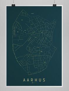 Aarhus Kort - Nat (stort format)