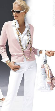 Fashion - pink cardigan w white outfit