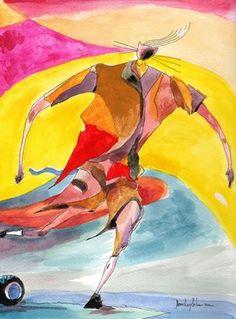 """Saatchi Online Artist daniel levy; Painting, """"cat kicking a ball"""" #art"""