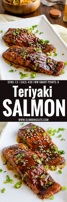 This Teriyaki Salmon with Noodles is a simple low syn delicious dish that the whole family will enjoy. Dairy Free, Slimming World and Weight Watchers friendly Healthy Weeknight Meals, Easy Healthy Dinners, Easy Healthy Recipes, Healthy Cooking, Eating Healthy, Healthy Eats, Healthy Foods, Grilled Teriyaki Salmon, Teriyaki Glazed Salmon