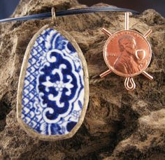 PENDANT BLUE POTTERY,Handmade,ooak, Geometric Design, Soldered Edging with a 18 inch Blue Nylon  Necklace and Lobster Claw Clasp.ooak by McWilliamsBopArt on Etsy