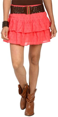 Eyelet Tiered Belted Skirt by wet seal