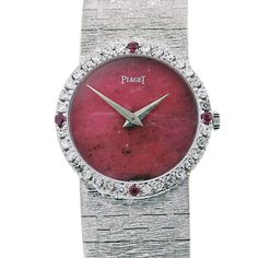 Piaget White Gold diamond ruby bezel Wristwatch | From a unique collection of vintage wrist watches at https://www.1stdibs.com/jewelry/watches/wrist-watches/