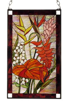 Description: Like walking through a lush tropical flower garden ofBegonias, Birds of Paradise Flamingo Lilies and lushgreen foliage. This lavish floral designed window isbordered with Flax Brown recta