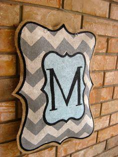 painted burlap door hangers | Be the first to review u201cChevron Monogramu201d Click here & DIY Burlap Door Hanger Tutorial...Materials Needed: Burlap Hot ... pezcame.com