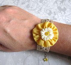 Handmade Bracelet, vintage lace, yellow fabric yoyo, white daisy bead | wingsofflutter - Jewelry on ArtFire