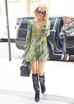 When she gave us this easy transitional outfit: long-sleeve mini dress + knee-high boots.