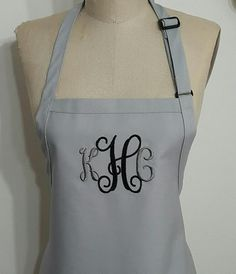 Monogrammed Silver Apron / Silver and Black Apron/ Hostess gift idea / Gourmet Personalized Apron / Embroidery Apron . by SouthernA on Etsy