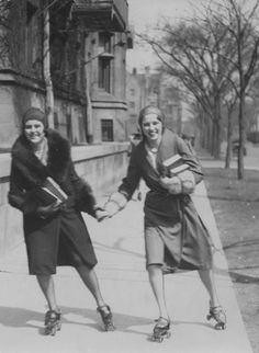 "semioticapocalypse: "" Two women students roller-skating on midway sidewalk :: University of Chicago campus, ca. 1940 "" Forget the bookmobile. Try roller-skating to the library!"