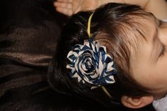 Baby HeadbandNavy and Tan Striped Rosette on by AriellesRunway, $5.99