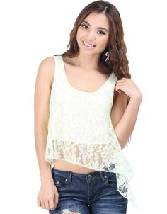 Lovely Lace Cropped Top Ivory/Neon Green