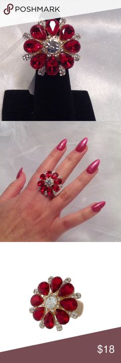Red Rhinestone Ring This gorgeous ring features clear and red faceted stones in a gold tone base. Stretch ring, fits all finger sizes. Price is firm unless bundled please. (This closet does not trade or use PayPal) Jewelry Rings