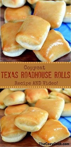 sweet and buttery Copycat Texas Roadhouse rolls are just like from the res. - These sweet and buttery Copycat Texas Roadhouse rolls are just like from the restaurant itself! The -These sweet and buttery Copycat Texas Roadhouse rolls are just like . Easy Bread Recipes, Cooking Recipes, Cooking Games, Cooking Tips, Cooking Steak, Cooking Salmon, Cooking Turkey, Copycat Recipes Desserts, Chicken Recipes