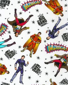 The Big Bang Theory fabric - Heroes in Space - White