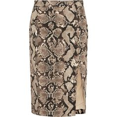 Python-print stretch-cotton twill pencil skirt ($11) ❤ liked on Polyvore featuring skirts, bottoms, pencil skirts, saia, knee length pencil skirt, cotton stretch skirt, brown pencil skirt, altuzarra and pencil skirt