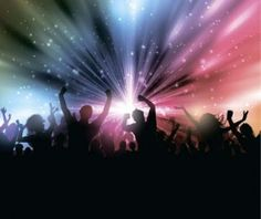 Music party backgrounds with people silhouettes vectors 02